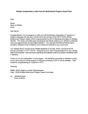 Sample Congratulatory Letter from the Multicultural Program Award ...