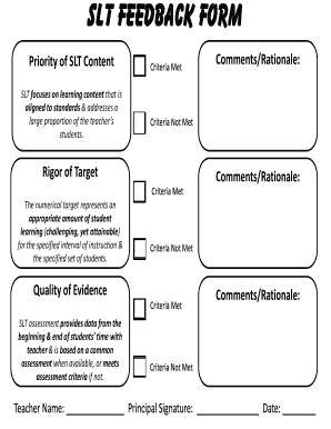 student feedback form for teachers Templates - Fillable & Printable ...