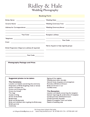 event booking form template word - event photography contract pdf forms and templates