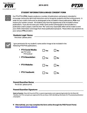 Fillable Online 2014-2015 PTA Consent Form for Parent Portal