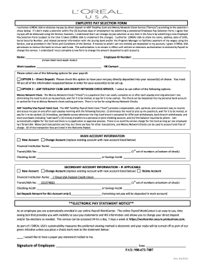 EMPLOYEE PAY SELECTION FORM - L'Oreal USA Federal Credit ...