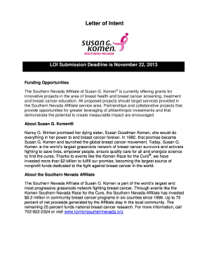 Letter of Intent - Susan G. Komen of Southern Nevada - komensouthernnevada