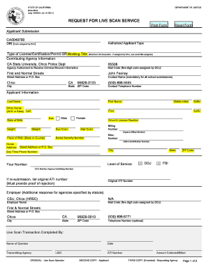 Fillable Online csuchico Request for Scan and Crimininal History