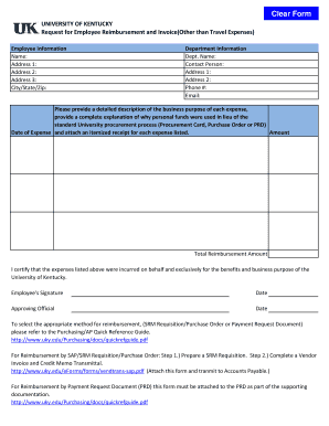 Employee Expense Reimbursement Form - University of Kentucky