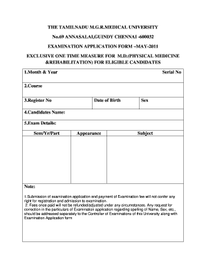Printable tamilnadu birth certificate correction templates to the tamilnadu m the tamilnadu mgrdical university no69 annasalai guindy chennai 600032 examination application formmay 2011 exclusive one time yelopaper Images