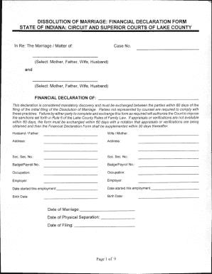 Financial Declaration Form | Fillable Online Dissolution Of Marriage Financial Declaration Form