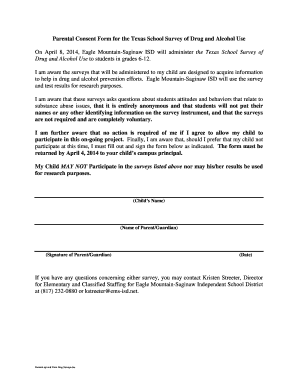 Parental Consent Form For The Texas School Survey Of Drug And .