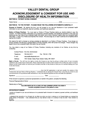 Fillable Online Print HIPAA Consent Form (.pdf) - Valley Dental ...