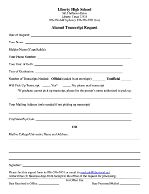 Sample letter of request for academic transcript forms and templates transcript request for all former lhs students liberty isd spiritdancerdesigns Image collections