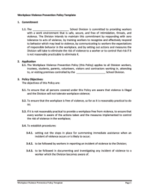 Workplace Violence Prevention Policy Template 1 Fill Online