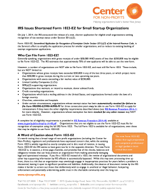 IRS Issues Shortened Form 1023-EZ for Small