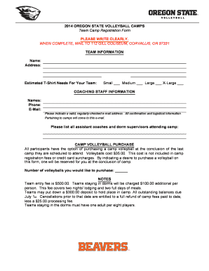 Print Form Submit By Email 2014 OREGON STATE VOLLEYBALL CAMPS Team Camp  Registration Form Please Take  Indemnity Form Template