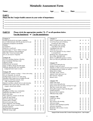 Metabolic Assessment Form - Open Mind Medicine