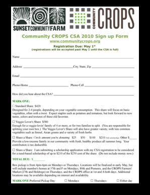 csa sign up form pdf