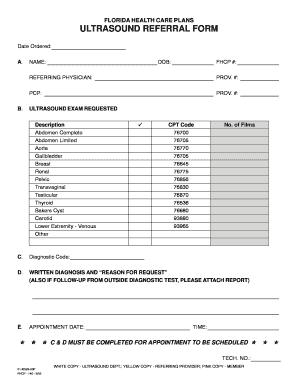 fillable online ultrasound referral form florida health care plans fax email print pdffiller. Black Bedroom Furniture Sets. Home Design Ideas