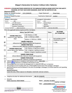 Shippers declaration for section ii lithium cells fill online pi969 altavistaventures Images