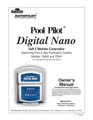 Fillable Online Pool Pilot Digital Nano Inyopools Com