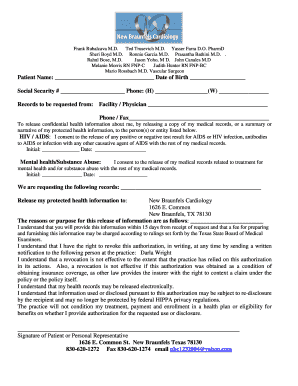 11 printable hipaa medical records release form templates fillable