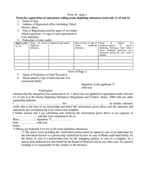 Form 10 - page 1 Form for registration of enterpriese selling ozone depleting substances sub-rule (1) of rule 6 1