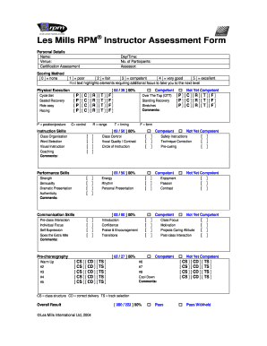 Fillable Online Les Mills RPM Instructor Assessment Form Fax Email ...