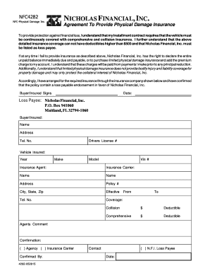 Physical Damage Insurance Agreement - Nicholas Financial, Inc.
