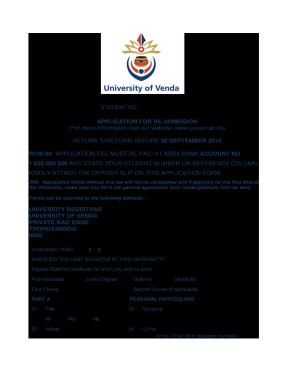 university of venda application form 2018 fill online printable rh university of venda registration pdffiller com Graphic Application Guide SF424 Application Guide