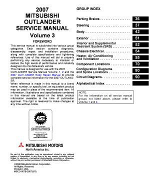 fillable online 2007 mitsubishi outlander service manual volume 3 rh pdffiller com harley forum service manual nissan forum service manual
