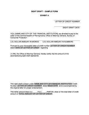 letter of credit draft template - sight draft fill online printable fillable blank