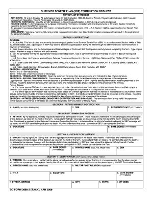 DD Form 2656-2, SBP Termination Request, April 2009 Fill Online ...