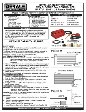 [DIAGRAM_38DE]  Der 16795 Installation - Fill Online, Printable, Fillable, Blank | PDFfiller | Derale Fan Controller Wiring Diagram |  | PDFfiller