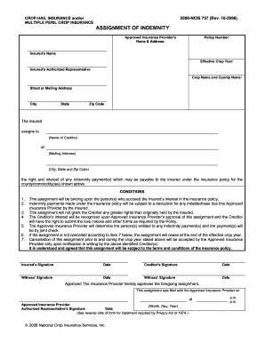 crop insurance coverage paper indemnity form