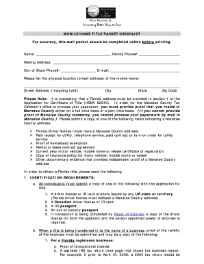 florida title packet form