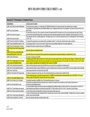 Ny Deny Reason Code Cheat Sheet - Fill Online, Printable