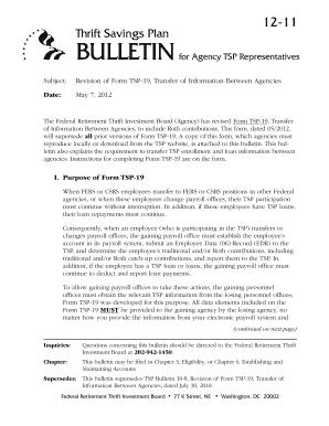 Fillable Online tsp Bulletin, Revision of Form TSP-19, Transfer of ...
