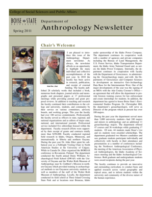 Anthropology Newsletter - College of Social Sciences & Public  - sspa boisestate