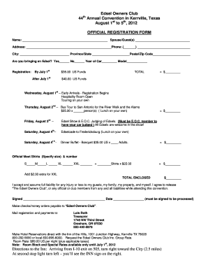 Registration Form - Edsel Owners Club