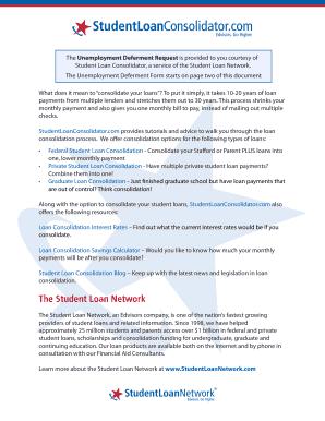 Fillable Fed Loan Unemployment Deferment Form - Fill Online ...