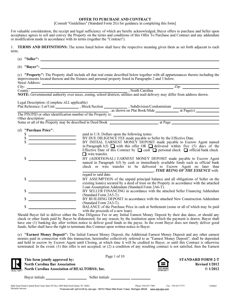 Offer To Purchase And Contract Fill Online Printable