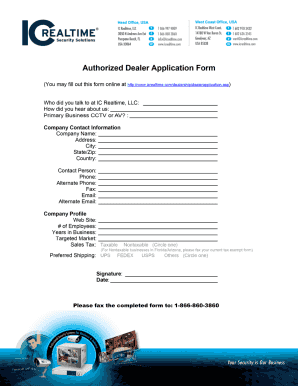 Fillable Online Authorized Dealer Application Form - from IC ...