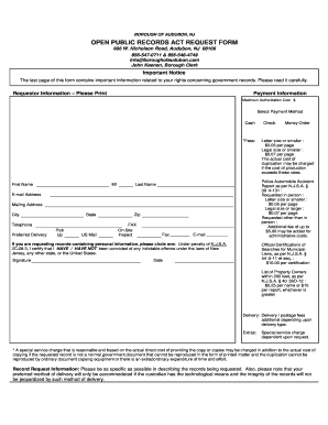 Audubon Nj Opra Request Form - Fill Online, Printable, Fillable ...