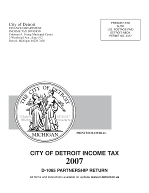 2007 Online City Of Detroit Tax Form - Fill Online, Printable ...
