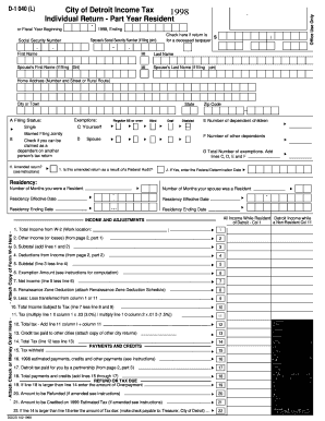 City Of Detroit Income Tax Part Year Resident Form - Fill Online ...