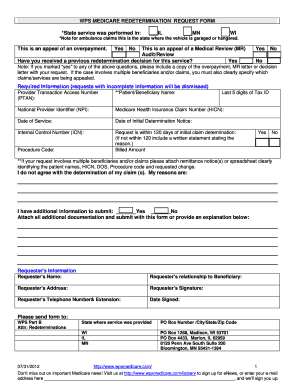 Wps Medicare Redetermination Request Form Filled Out - Fill Online ...