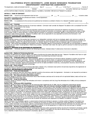 independent contractor agreement california template