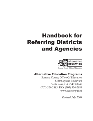 Handbook for Referring Districts and Agencies - Sonoma County  - scoe