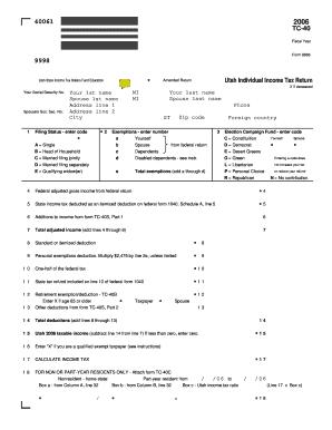 Fillable Online tax utah 2006 Utah Individual Income Tax Form, TC ...
