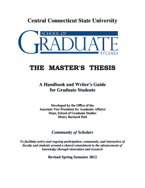 Master Thesis Handbook - Central Connecticut State University - ccsu