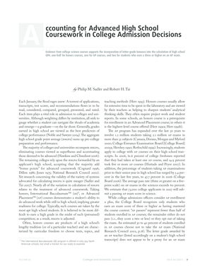 A ccounting for Advanced High School Coursework in College  - cfa harvard