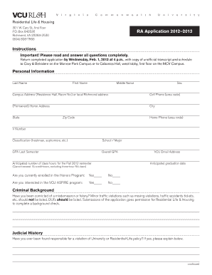 Fillable Online housing vcu Application - Residential Life and ...