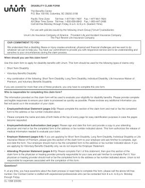 Unum Disability Claim Form Cl 1008 - Fill Online, Printable ...